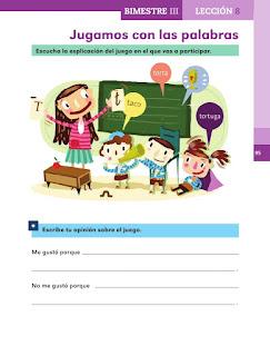Apoyo Primaria Español 1er grado Bimestre 3 lección 8 Jugamos con las palabras
