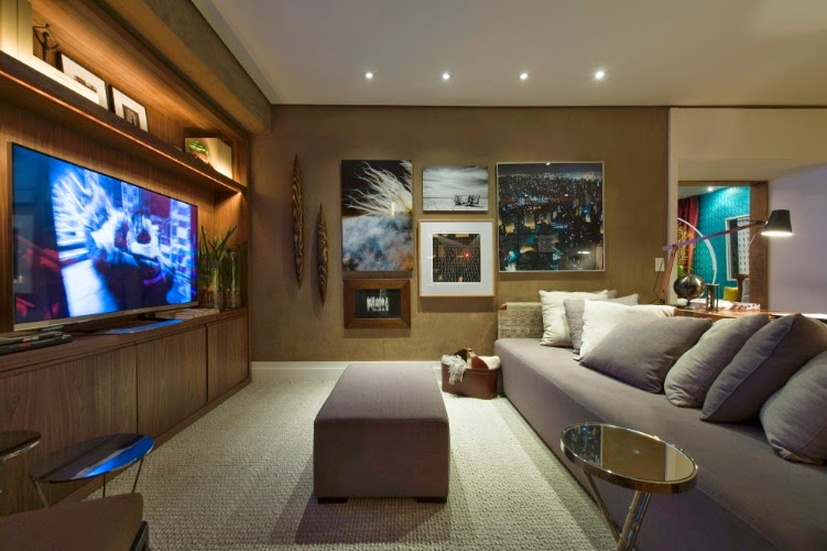Decoracao de sala e home theater id ias - Sala home cinema ...