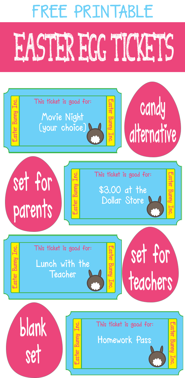 There's a pack for parents and teachers. Both sets have a sheet of blank tickets to make your own. Download at Bed Rested Teacher