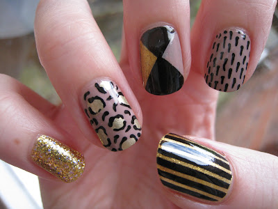 Nude Gold and Black nail art using Barry M and Models Own polishes
