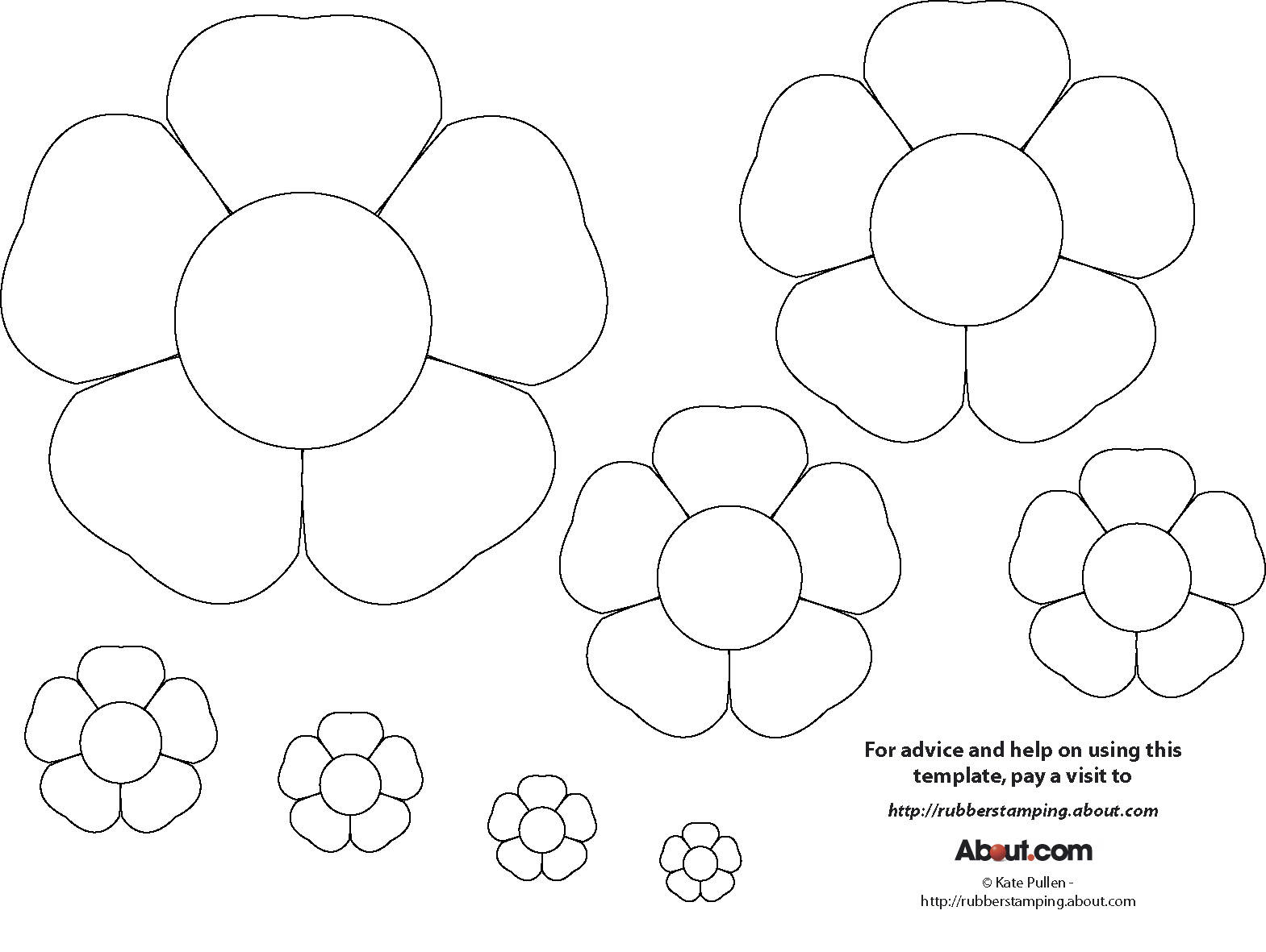 Early play templates flower templates free for Free printable paper flower templates