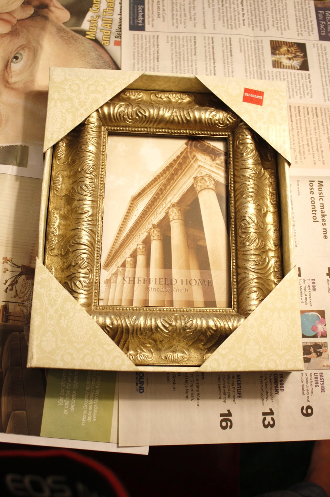 i started with three fancy frames from joanns along with some paint because i wasnt a big fan of the gold color