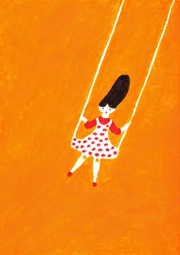 girl swinging in orange illustration by Higuchi Sakuya