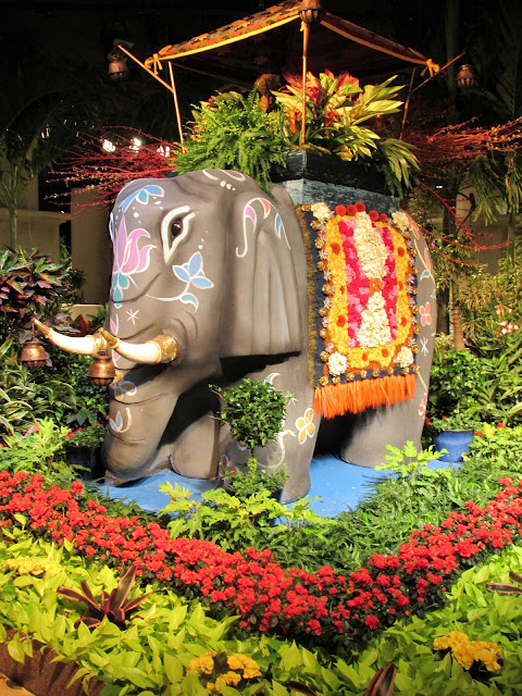 Elephant statue with flowers