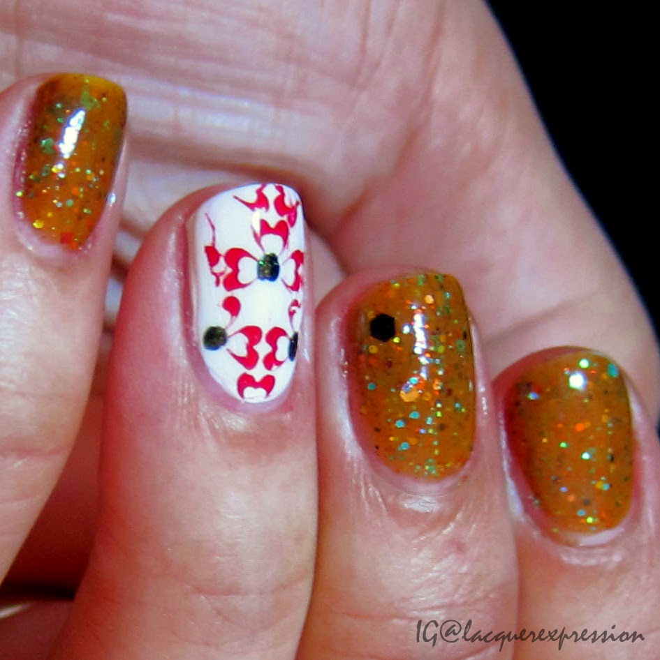 Swatch of gingerbread house nail polish by polish addict nail color PANC