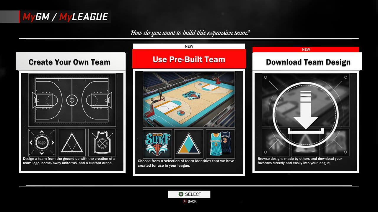 NBA 2K17 Features Enhancements to MyGM & MyLEAGUE : League Expansion - Customization