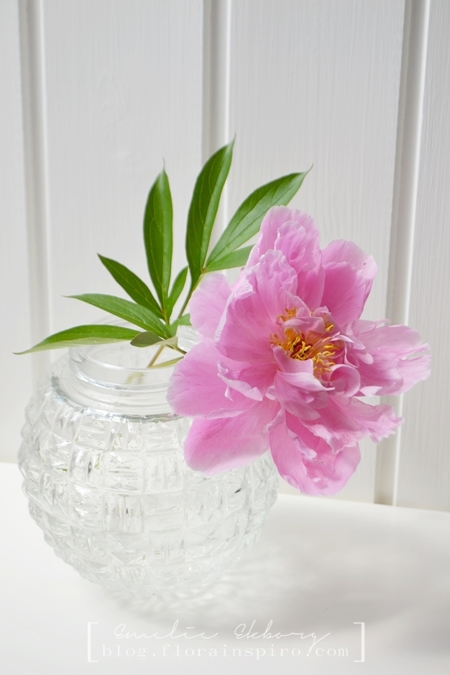 DIY lamp, DIY vase, How to make a spherical vase from a globe shade, how to make a vase, pink peony