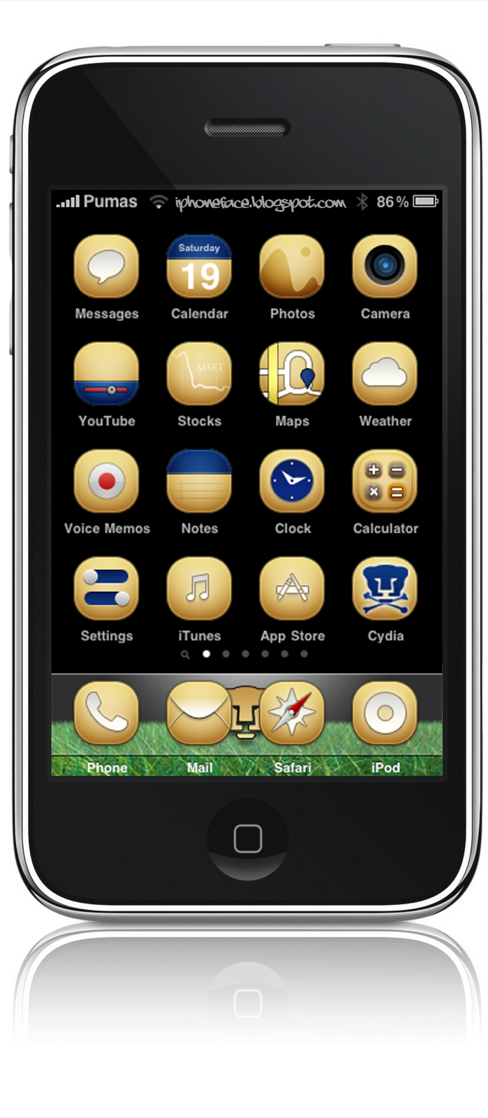 Pumas SD iphone theme, activate SummerBoard Mode.