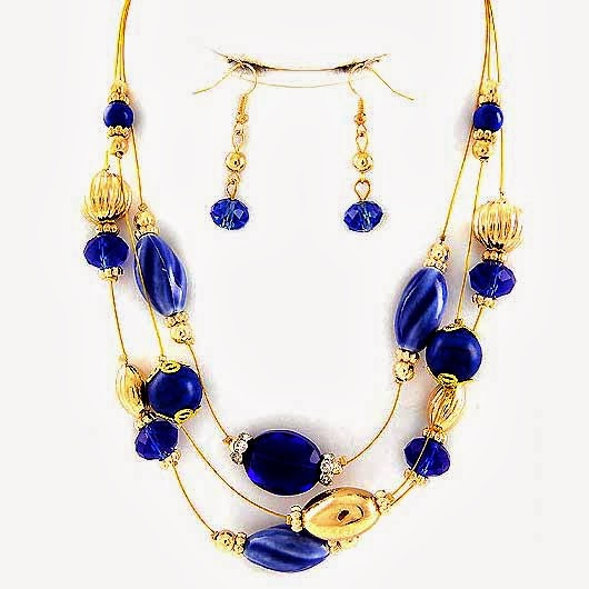 Blue Crystals Multi Row Necklace