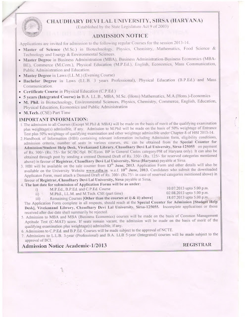 CDLU Sirsa Admission 2013-14 at www.freenokrinews.com