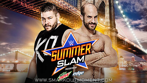 WWE SummerSlam 2015 pay-per-view Owens vs Cesaro winner