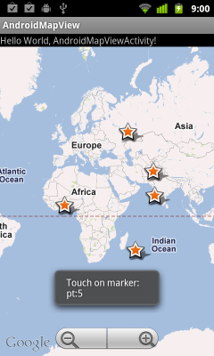 Handle both onTap(GeoPoint p, MapView mapView) and onTap(int index) implemented in MapView