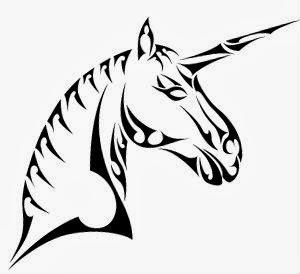 Desenho de unicornio tribal