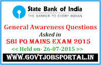 SBI PO Mains Exam 2015 GK Questions