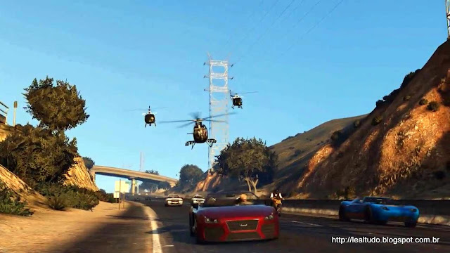 Grand Theft Auto Online Police Chopper Hunt Freeway - Busca Helicoptero Policia