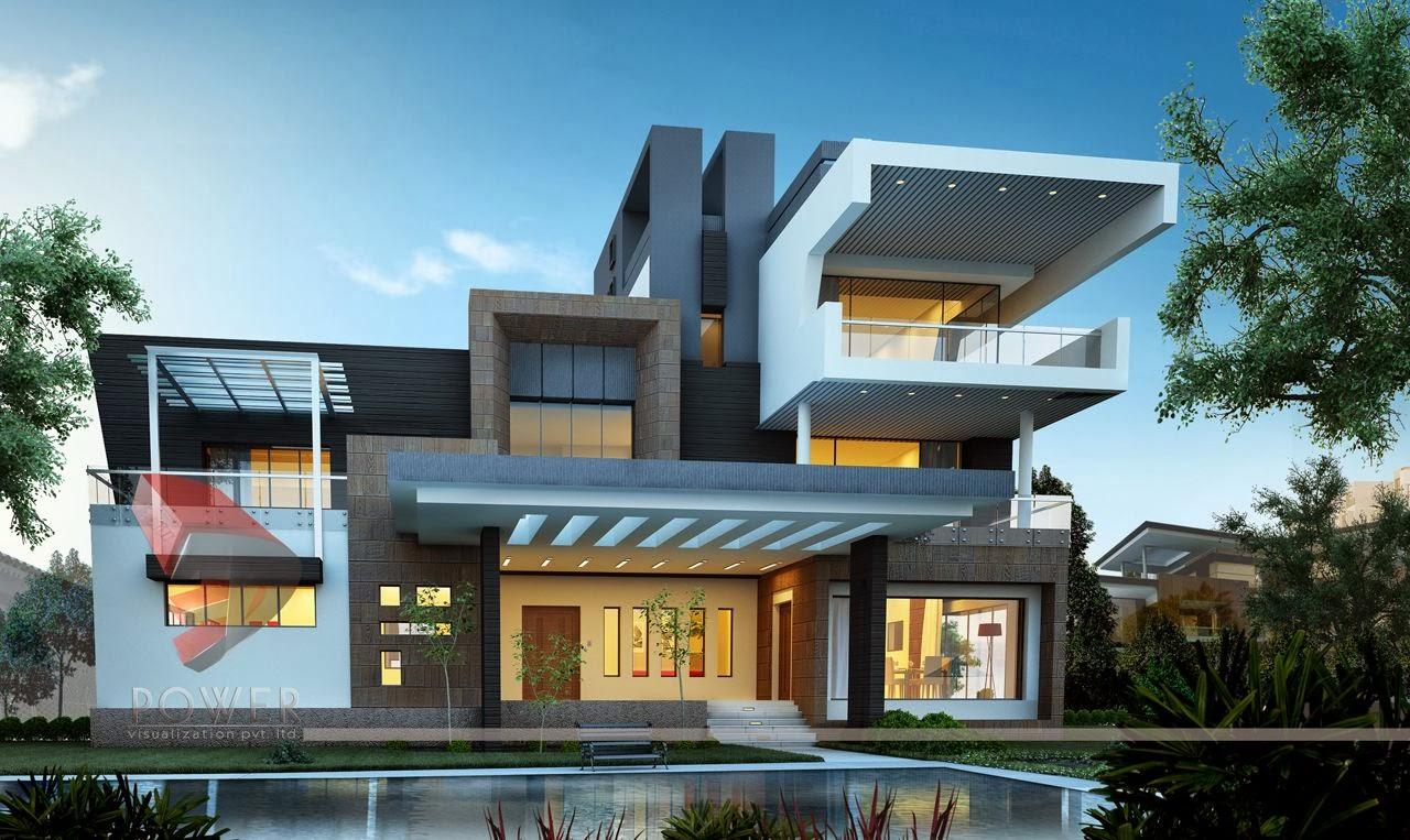 Modern house 3d interior design 3d exterior rendering for Home designs bungalow