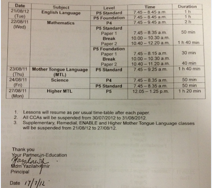 CA2 Timetable