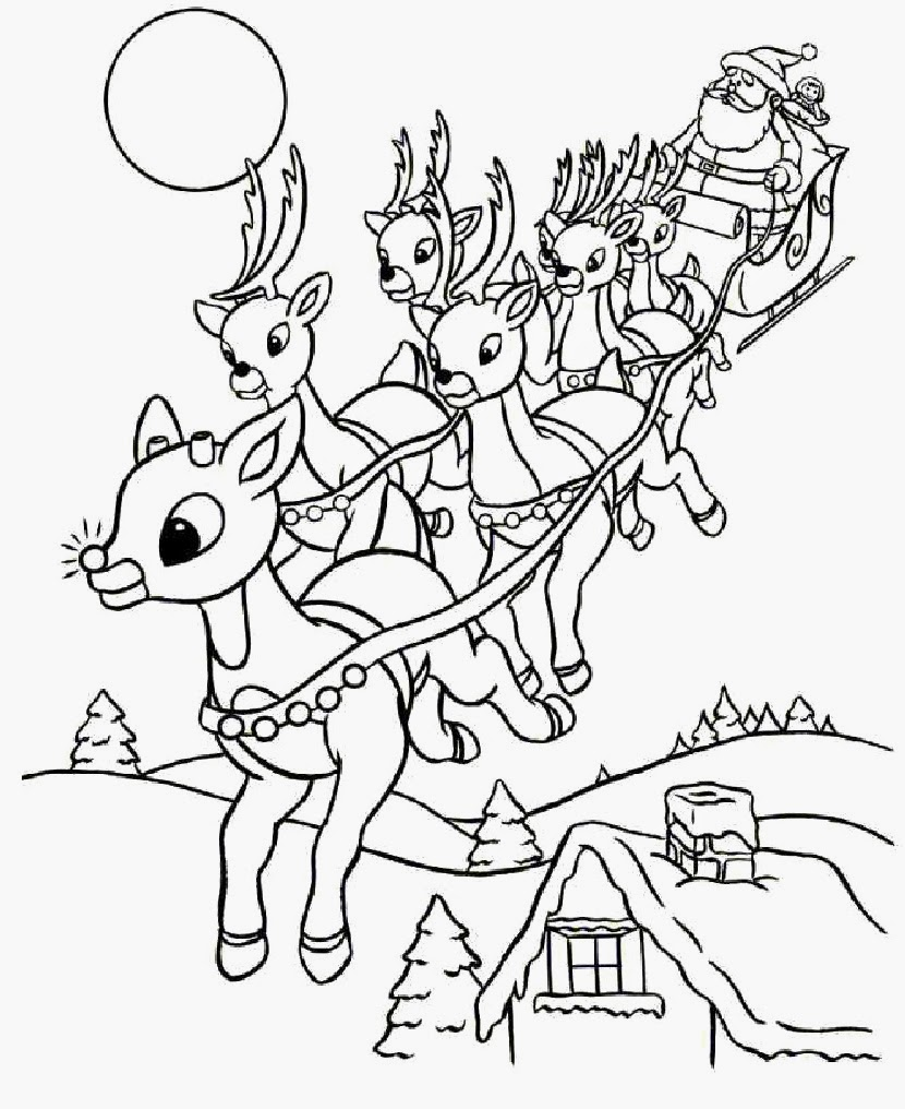 wild christmas reindeer coloring pages