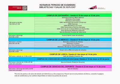 """Horarios del periodo de exámenes de nuestras Bibliotecas y """"salas de estudio"""" del 16 mayo al 15 julio."""