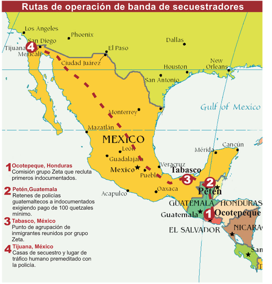 this map shows areas where kidnapping rings tied to the major drug cartels operate along mexico s migrant route credit infiltrado