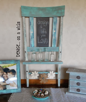 Chalkboard shelf from a broken chair via http://deniseonawhim.blogspot.com