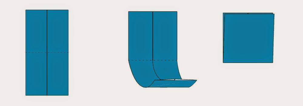 Bước 4: Gấp đôi hình chữ nhật lại sau đó lại mở ra. Mục đích để tạo thành nếp gấp.