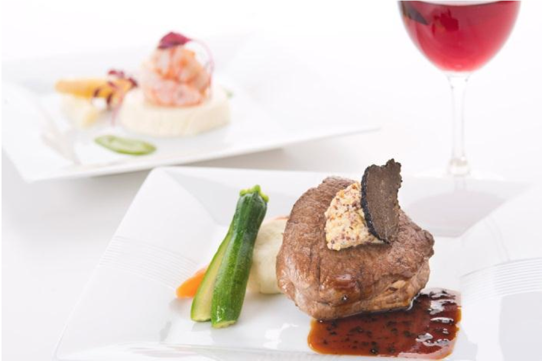 JAL First Class menu designed by Chef Naoki Uchiyama: US Prime Beef Fillet with Black Truffle Sauce