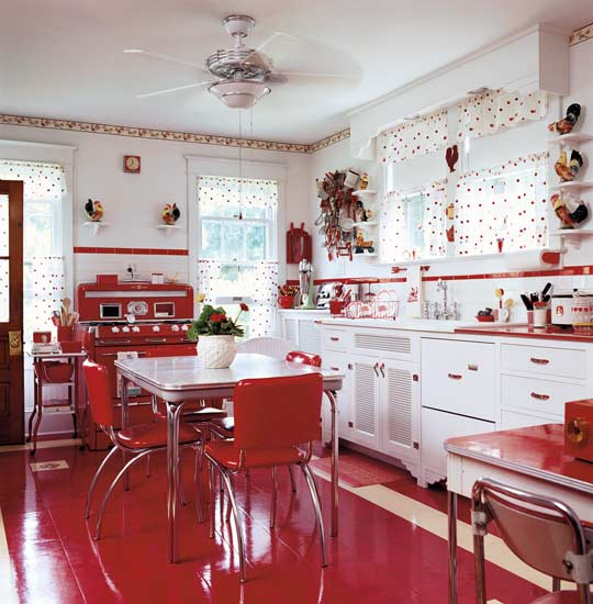 and novel color combinations the red and white vintage kitchen