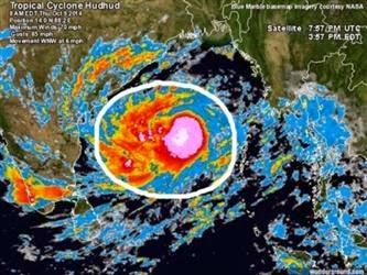 ciclón Hudhud 12 de Octubre 2014
