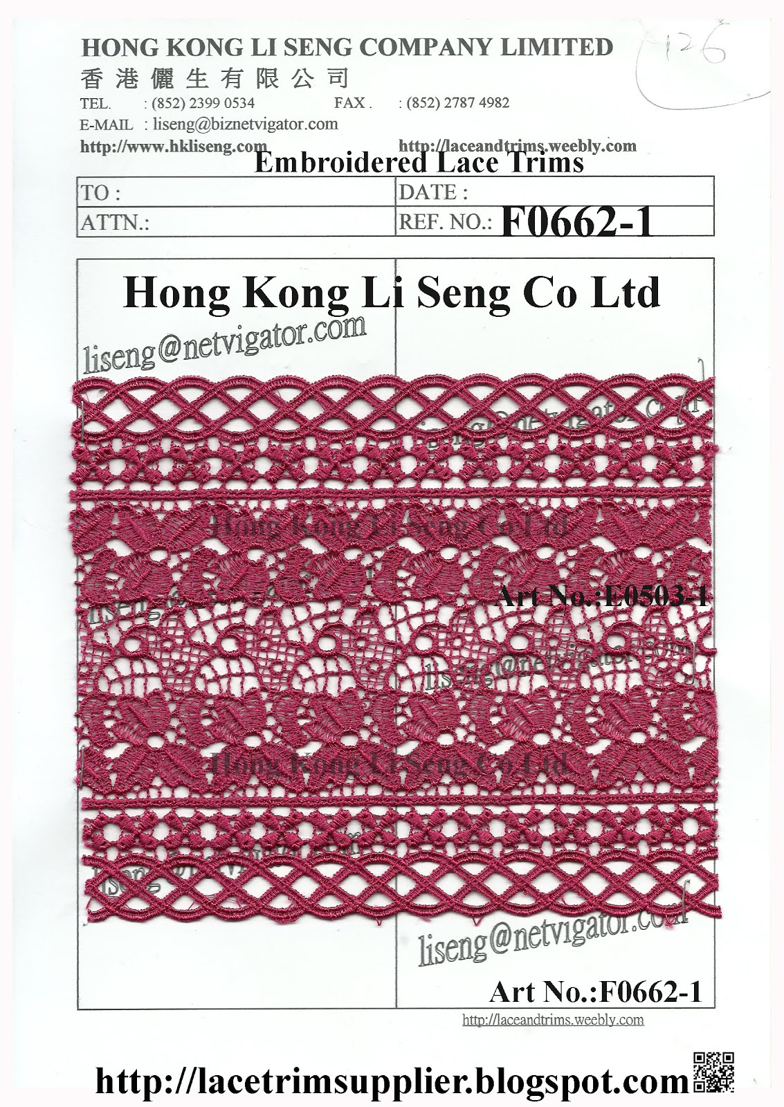 A. Stock Lot Lace Trims Supplier: Hong Kong Li Seng Co Ltd