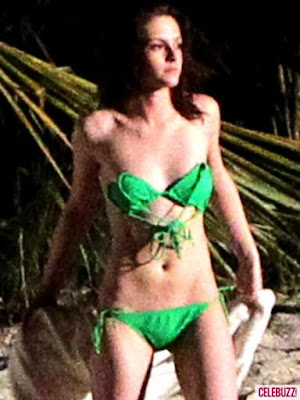 Kristen Stewart in Teeny Green Bikini for the shoot of film