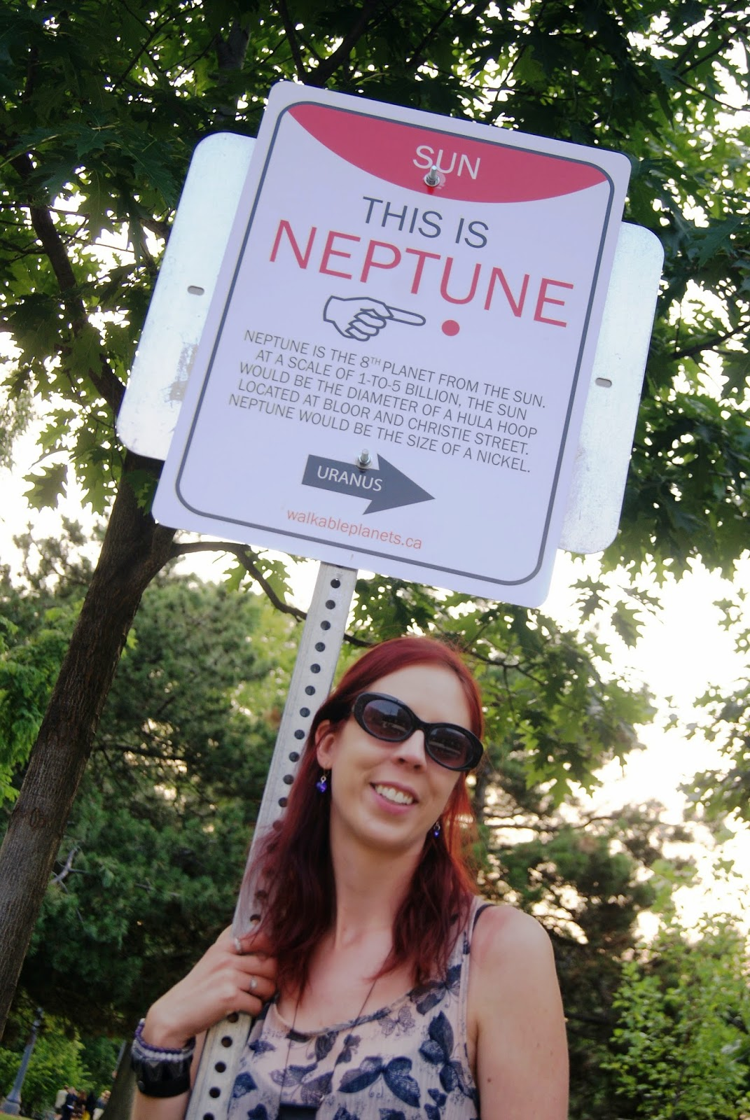 Neptune Wayfinding Sign from Walkable Planets scale solar system by Jode Roberts in Toronto, Public, Installation, Community, Project, Intervention, Explore, Grace Street, Gore Vale Avenue, Jane's Walk, 100-in1 Day, Ontario, Canada, Culture, Lifestyle, Galaxy, Art, Artist