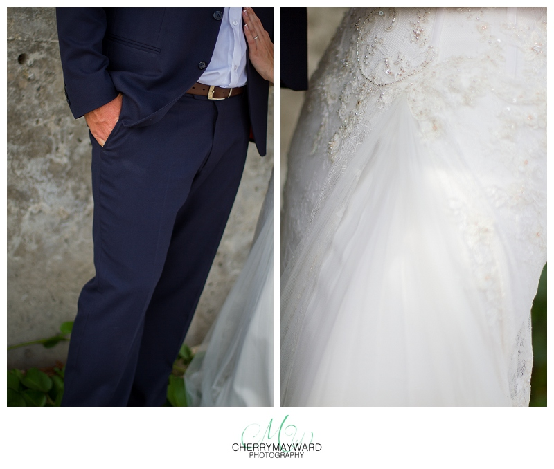 Bride and groom details, suit pants and wedding dress details, beautiful,  Beach Republic