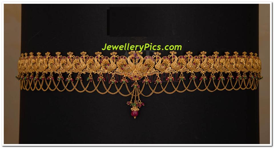 Suvarana mahal swan design gold vaddanam kamar patta