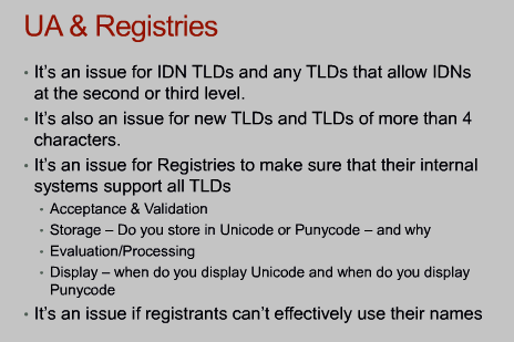 Slide of Universal Acceptance topic at the Generic Registry Stakeholders Group session at ICANN 53