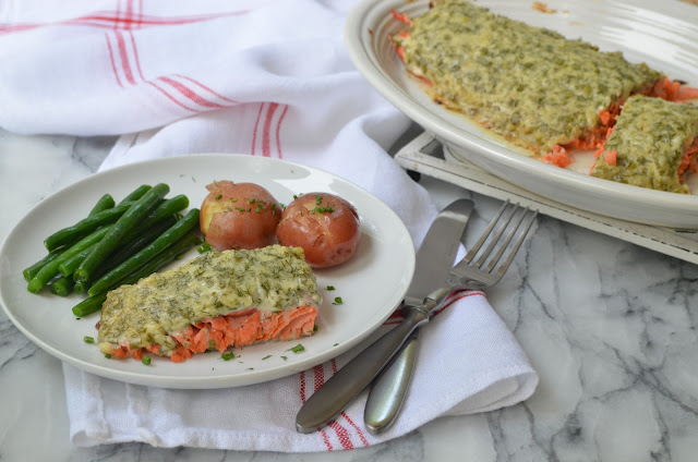 Baked Salmon with Herb Sauce - Smell of Rosemary.