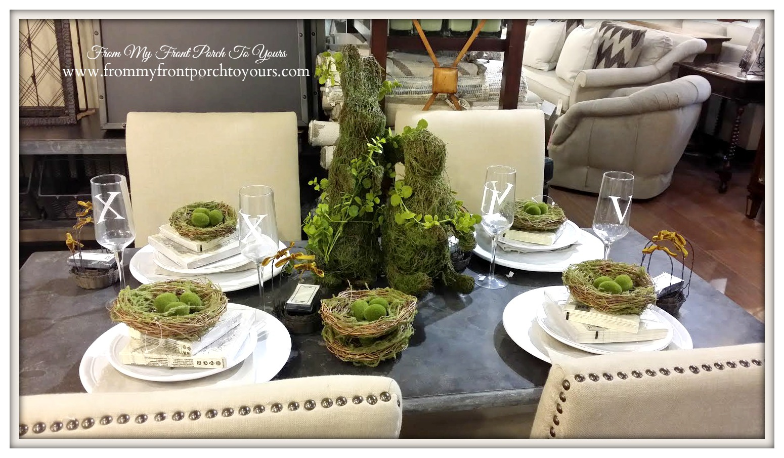 Spring Tablesetting with Nests-Laurie's Home Furnishings- From My Front Porch To Yours