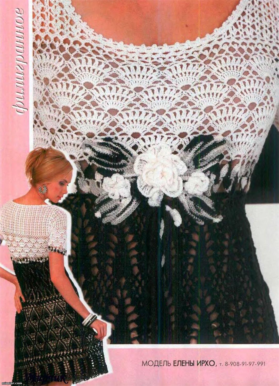 Шикарное двухцветное платье крючком. 24716