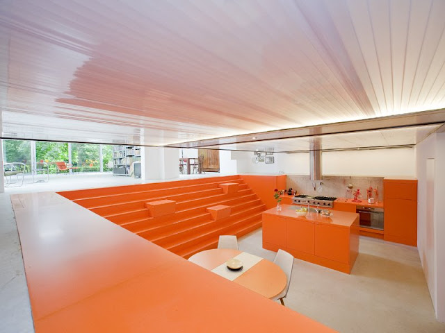Orange kitchen design in Rotterdam