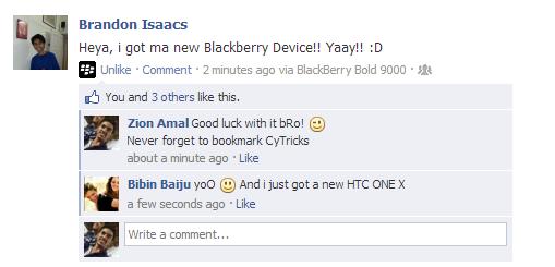 Facebook Status Tricks Example
