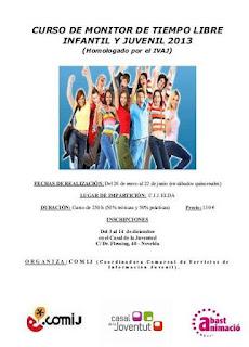 Ayuntamiento de Novelda Cartel+MTL+2013 CURSO DE MONITOR DE TIEMPO LIBRE INFANTIL Y JUVENIL 2013