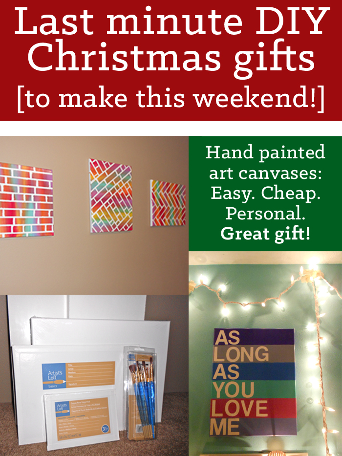 Last minute DIY Christmas gifts: painted canvases