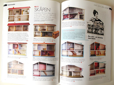 Internal pages of the magazine Retro Klassiker Leksaker Design i Dockskåpet, showing a selection of  vintage dolls' houses by Lerro, Lundby and Brio.