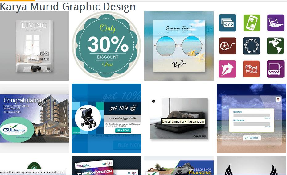 hasil karya murid kursus desain grafis