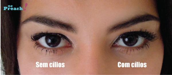Cílios postiços M.A.C - comparação antes e depois