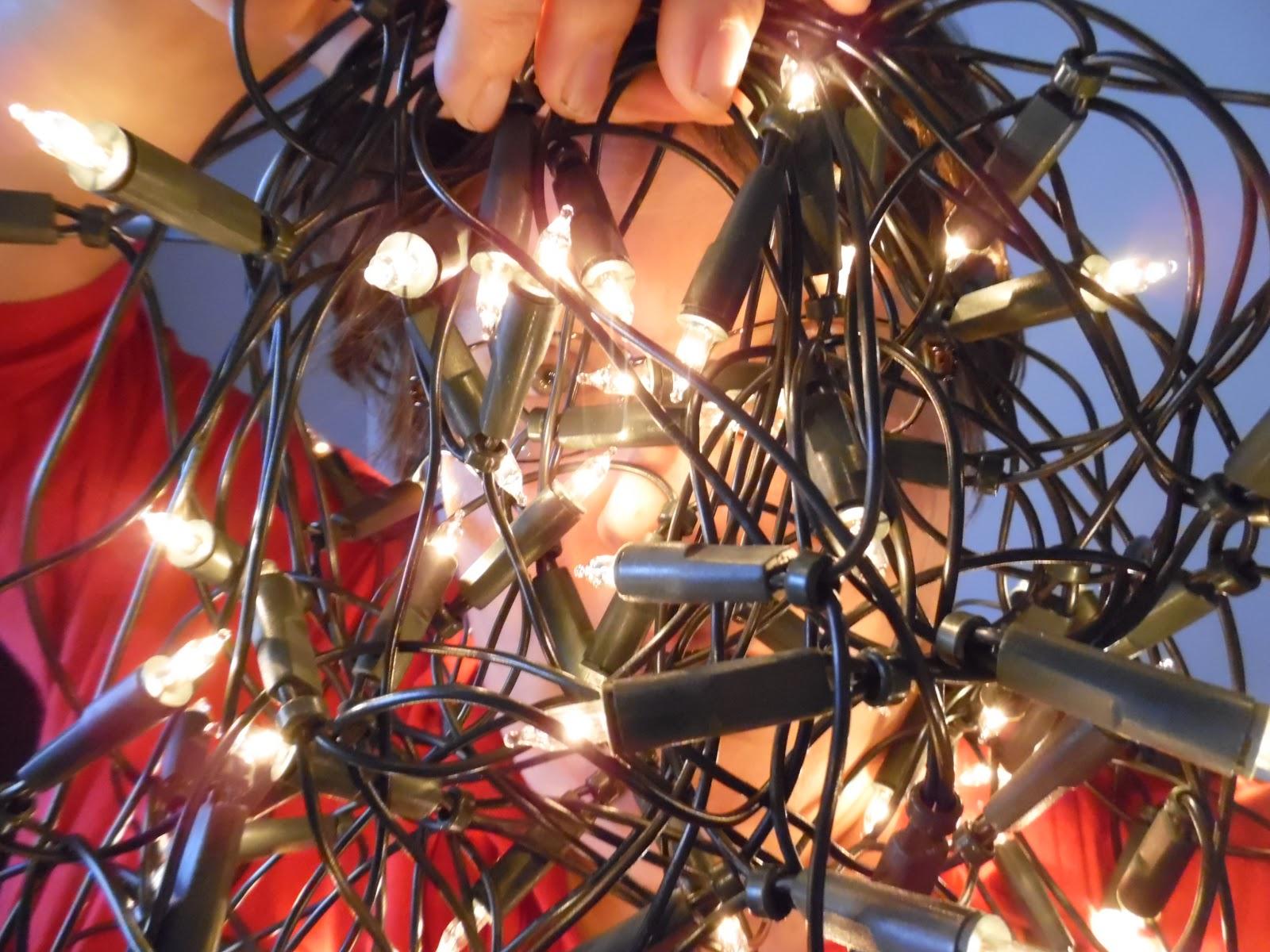 Tangled Christmas lights.