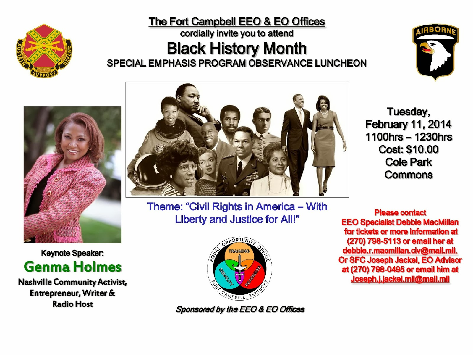 Fort Campbell EEO & EO Offices will hold its Annual Black History Month  Special Emphasis Program Observance Luncheon, on Tuesday, February 11,  2014, ...