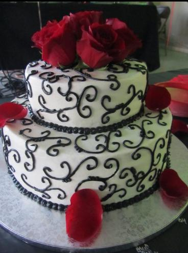 Cakes By Nichole: Wedding Cake - Black, White & Red