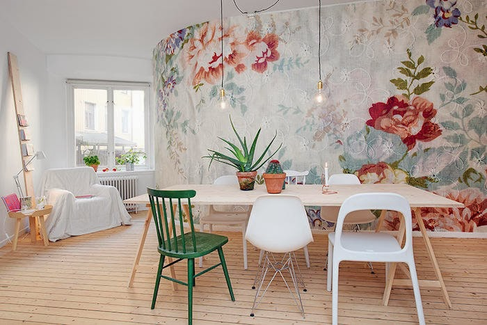 Decoraci n f cil papel pintado con flores bordadas - Papeles pintados de pared ...