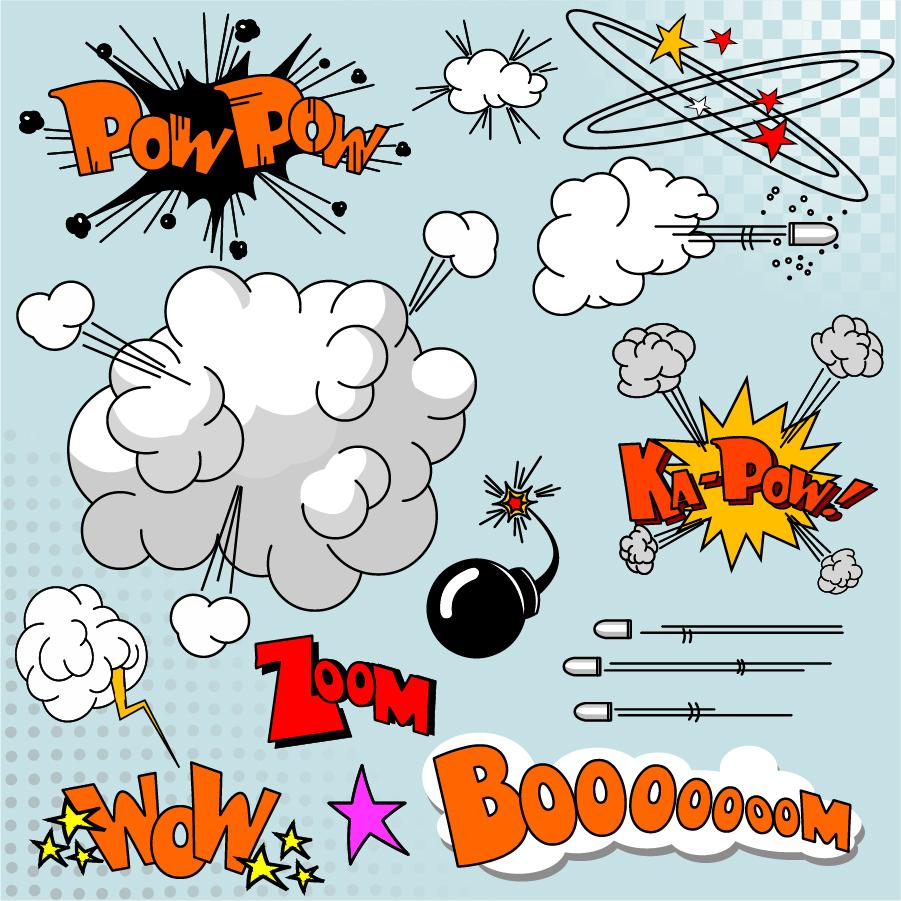 漫画の爆発マーク cartoon explosion pattern イラスト素材